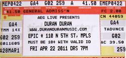 Ticket duran duran Minnesota 22 april 2011.png