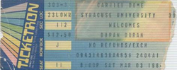DURAN DURAN 03 MARCH 1984 SYRACUSE USED TICKET VERY RARE ticket wikipedia.png