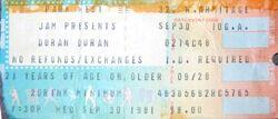 DURAN DURAN TICKET SEP. 30 1981 PARK WEST CHICAGO ticket stubs wikipedia tour.JPG