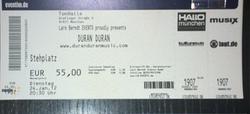Ticket duran duran show review München, Stehplatz, 24.01.12 discography discogs music wiki.png