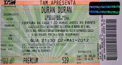 Ticket San Paulo (Brazil), Credicard Hall wikipedia duran duran.jpg