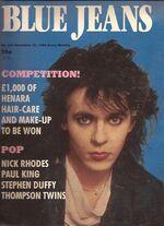 Blue jeans magazine uk 30 november 1985 NICK RHODES COVER AND POSTER DURAN DURAN girl panic video wikipedia song single.jpg