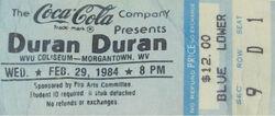 Duran duran band wikipedia ticket stub WVU Coliseum Morgantown West Virginia USA.jpg