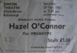 Edinburgh Scotland Odeon ticket stub hazel oconnor duran duran wikipedia megahype tour.jpg