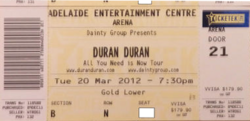 TICKET Adelaide (Australia), Adelaide Entertainment Centre DURAN DURAN WIKIPEDIA.png