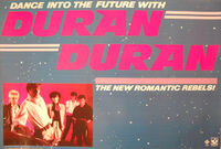 Duran Duran 1981 Promo Poster Dance Into The Future Capitol Harvest Records wikipedia.JPG
