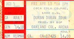 Duran ticket 13 april 84.png
