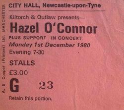 Hazel o'connor wikipedia ticket stub duran duran Newcastle England City Hall stub tour megahype.jpg