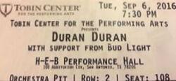 Tobin Center for the Performing Arts San Antonio TX USA wikipedia duran duran ticket stub.jpg