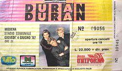 Ticket duran duran 1 Modena (Italy), Stadio Comunale.jpg