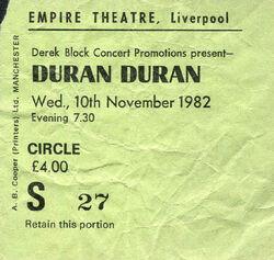 1982 Duran Duran The Rio Tour Concert Ticket Stub Liverpool UK empire theatre wikipedia ticket stub.jpg