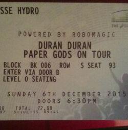 Glasgow UK SSE Hydro Arena wikipedia duran duran ticket stub paper gods tour album discogs.jpg