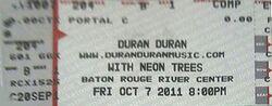 Ticket Baton Rouge River Center, Baton Rouge, LA, USA. duran duran show 2011,.jpg