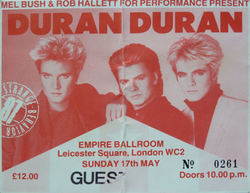 Ticket stub for Duran Duran at The Empire Ballroom, Leicester Square, London wikipedia.png