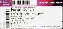 LG Arena, NEC, Birmingham wikipedia ticket stub duran duran.png