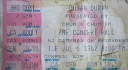 Ticket canada flag wikipedia Toronto ON (Canada) Concert Hall duran duran.jpg