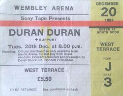 Wembley Arena, London (UK) - 20 December 1983 wikipedia ticket stub duran duran tour.JPG