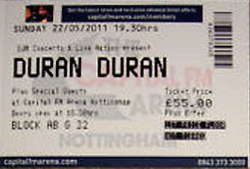 Ticket duran duran nottingham UK 27 MAY 2011.png