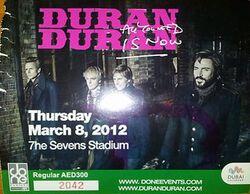 The Sevens Stadium, Dubai, UAE ticket stubs wikipedia duran duran show 2012.JPG