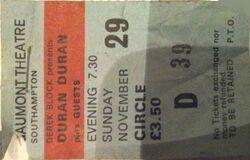 Southampton (UK), Gaumont ticket stub wikipedia duran duran 29 november 1981 tour.JPG