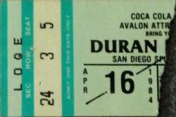 Y San Diego Sports Arena, San Diego, CA, USA wikipedia duran duran ticket stub 1984.jpg