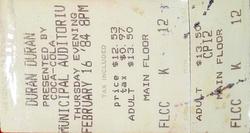Kansas City MO (USA), Muncipal Auditorium 16 feb 84 ticket stub wikipedia duran duran.png