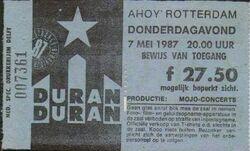Ticket rotterdam holland 7 may 1987 duran duran live show concert date.jpg