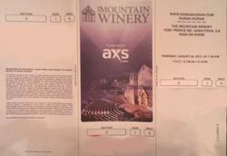 Saratoga CA (USA), Mountain Winery wikipedia duran duran ticket stub show 2012.png