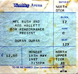 Ticket duran duran concert wembley london 1987.jpg
