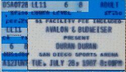 San Diego Sports Arena, San Diego, CA, USA 28 july 1987 ticket stub duran duran wikipedia.jpg