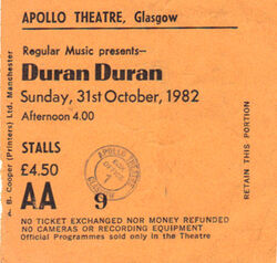 Apollo Theatre, Glasgow (UK) - 31 October 1982 wikipedia ticket stubs look at com duran duran.JPG