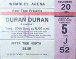 Wembley Arena, London (UK) - 20 December 1983 - The Sing Blue Silver Tour duran duran wikipedia stub.JPG