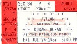 Duran duran ticket The Great Western Forum, Inglewood (Los Angeles), California.jpg