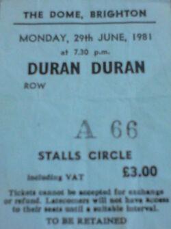 Ticket 2 duran duran wikipedia ticket stub collection brighton dome 1981.jpg