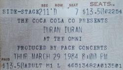 Ticket stub The Omni Atlanta GA USA wikipedia duran duran band.jpg