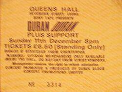 Queens Hall, Leeds, UK. wikipedia ticket stub duran duran concert 11 december 1983.JPG