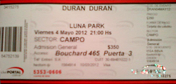 Ticket luna park Buenos Aires (Argentina), Luna Park WIKIPEDIA DURAN DURAN REVIEW.png