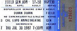 Cal Expo, Sacramento, California (USA) - 30 July 1987 wikipedia duran duran tour stub ticket.jpg