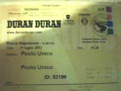 2012-07-21 Lucca (Italy), Piazza Napoleone wikipedia ticket duran duran.jpg