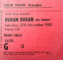 Birmingham UK Odeon wikipedia duran duran ticket stub.jpg
