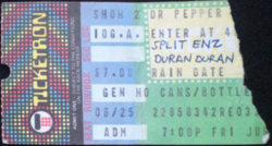 Ticket duran duran Dr. Pepper Summer Concerts, (26 june 1982) Pier 42, New York, NY, USA with Split Enz.png