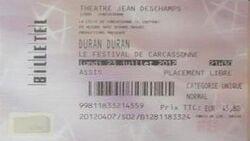 Théâtre DE LA CITIE Carcassonne (France) WIKIPEDIA DURAN DURAN TICKET STUB.jpg