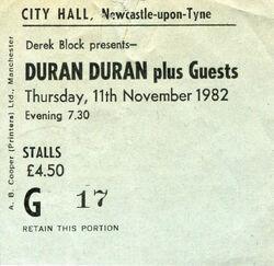 City Hall Newcastle (UK) - 11 November ticket stub wikipedia duran duran com.jpg