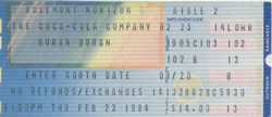 DURAN DURAN 23 FEBRUARY 1984 CHICAGO USED TICKET VERY RARE wikipedia duran duran.png