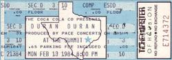 Houston TX (USA), The Summit ticket stub wikipedia duran duran 13 feb 1984.png