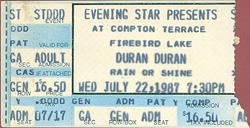 Ticket 1987 duran duran Compton Terrace, Phoenix, Arizona, USA 22 july.png