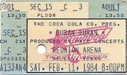 Ticket stub Reunion Arena Dallas, Texas. wikipedia duran duran.jpg
