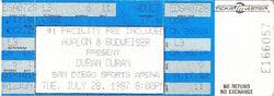 San Diego Sports Arena, San Diego, CA (USA) - 28 July 1987 wikipedia ticket stub duran duran.JPG