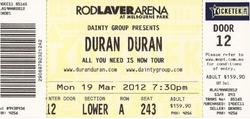Ticket duran duran Duran Duran Live at Rodlaver Arena 19th of March 2012 event concert.png