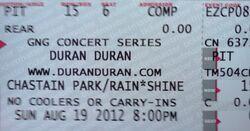 Chastain park ticket stub duran duran 19 august 2012.jpg